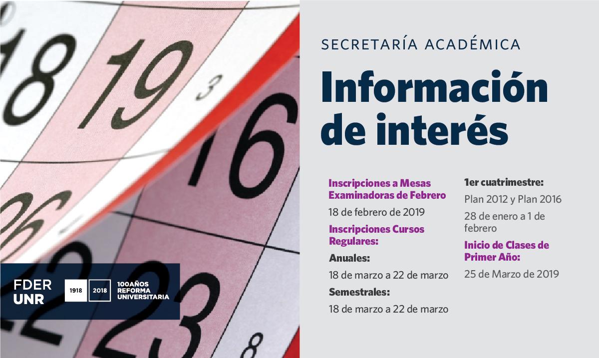 Información de Interés – Receso 2018/2019