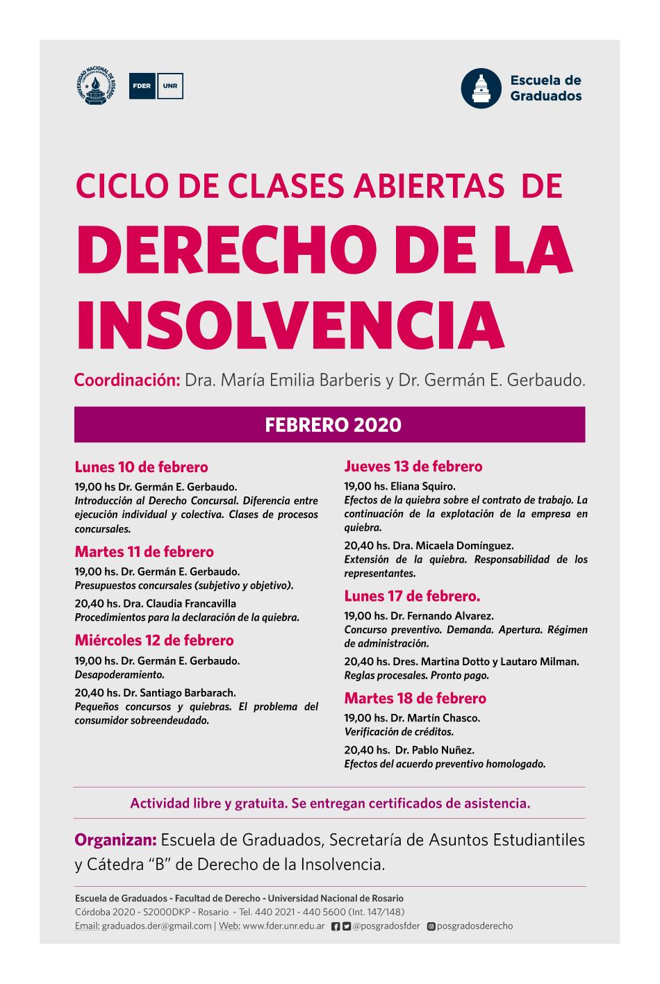 CICLO DE CLASES ABIERTAS DE DERECHO DE LA INSOLVENCIA
