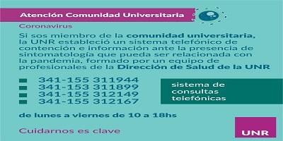 LA UNR HABILITA LÍNEAS TELEFÓNICAS DE CONSULTAS SANITARIAS PARA SU COMUNIDAD